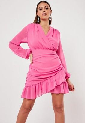 Missguided Hot Pink Wrap Ruffle Tea Dress