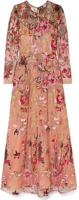 Naeem Khan Crystal-embellished Embroidered Tulle Gown