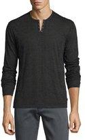 John Varvatos Eyelet Burnout Henley T-Shirt, Charcoal Heather