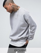 Reclaimed Vintage Inspired Oversized Sweatshirt In Grey Overdye