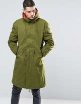 Pretty Green Parka With Contrast Removable Liner In Green