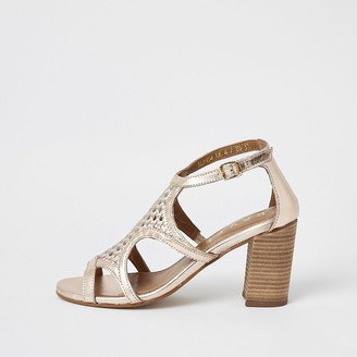River Island Ravel rose gold leather caged sandals