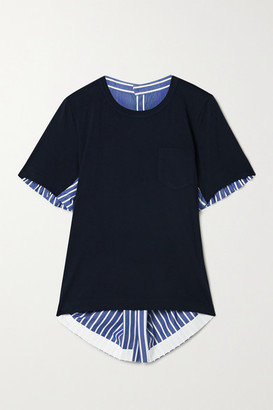 Sacai Asymmetric Paneled Striped Cotton-poplin And Jersey Top - Navy
