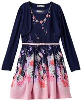 Knitworks Girls 7-16 Shrug & Floral Textured Skater Dress with Necklace Set