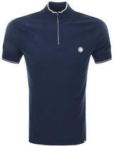 Pretty Green Langshaw Zip Polo T Shirt Navy