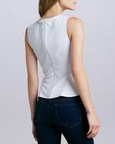 Theory Elleria Leather Peplum Top, White