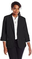 Napa Valley Women's Plus-Size Patch Pocket Linen Look Jacket