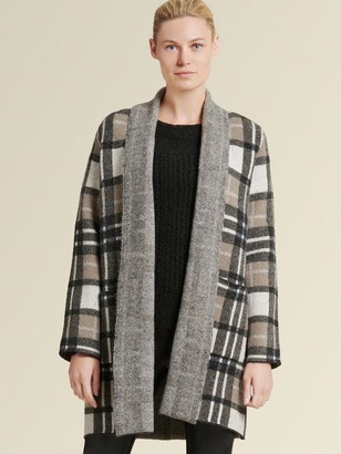 DKNY Open-front Plaid Cardigan