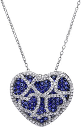 Stella Grace Sterling Silver Lab-Created Blue & White Sapphire Heart Pendant