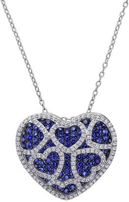 Stella Grace Sterling Silver Lab-Created Blue & White Sapphire Heart Pendant