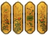 Oriental Furniture Asian Gifts, Art and Decor 36-Inch Curved Chinese Lacquer Wall Plaques, Set of 4, Golden Birds and Flowers
