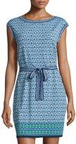 Max Studio Floral-Print Cap-Sleeve Dress, Navy/Leaf Panel