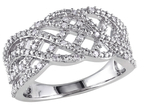 Rina Limor Fine Jewelry Silver & 0.20 Total Ct. Diamond Crossover Band Ring