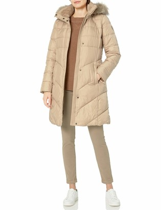 Larry Levine Women's Long Puffer W/Detachable Faux-Fur Trimmed Hood