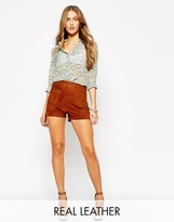 MANGO Suede Shorts With Button Detail
