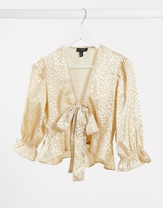 Qed London jacquard satin tie front blouse in champagne