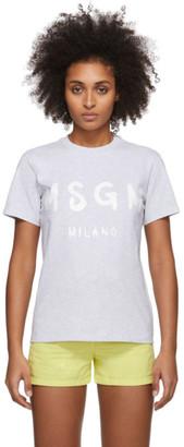 MSGM Grey Artist Logo T-Shirt