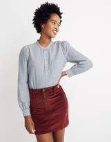 Madewell Puff-Sleeve Popover Shirt in Railroad Stripe