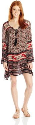 Angie Women's Juniors Long-Sleeve Printed Boho Dress