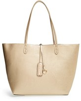 Street Level Junior Women's Reversible Faux Leather Tote - Metallic