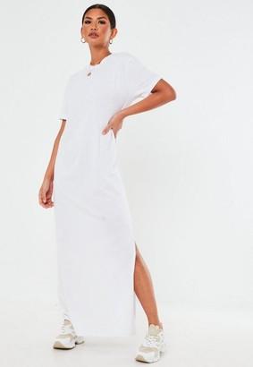 Missguided White Basic T Shirt Maxi Dress
