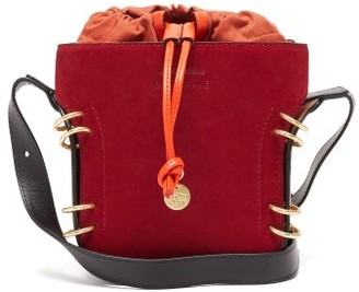 See by Chloe Alvy Ring-embellished Suede And Leather Bucket Bag - Dark Red