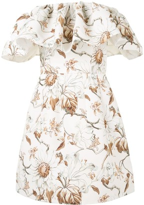 Oscar de la Renta Faille Off-Shoulder Mini Dress