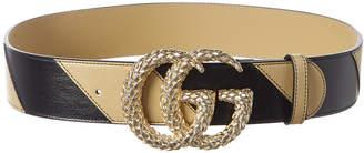 Gucci Textured Interlocking G Leather Belt