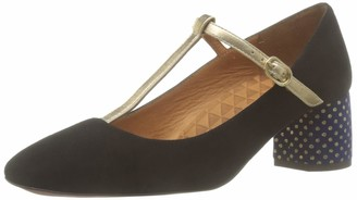 Chie Mihara Women's Turnout35 T-Bar Heels Black (Ante Negro Napa Metal Gold Lula Navy Negro) 9 UK