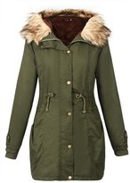 Allonly Women's Winter Jacket Fur Collar Hooded Cotton Padded Down Jacket Coat