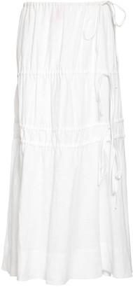 Brock Collection Linen Midi Skirt W/ Elastic Bands