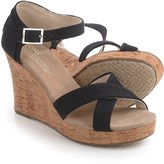 Toms Canvas Strappy Wedge Sandals (For Women)