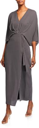 Halston Striped 1/2-Sleeve Kimono Dress
