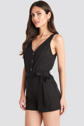 NA-KD Button Front Tie Waist Playsuit Black