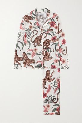 Desmond & Dempsey Soleia Printed Organic Cotton-voile Pajama Set - Cream