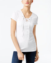 INC International Concepts Lace-Up T-Shirt, Created for Macy's