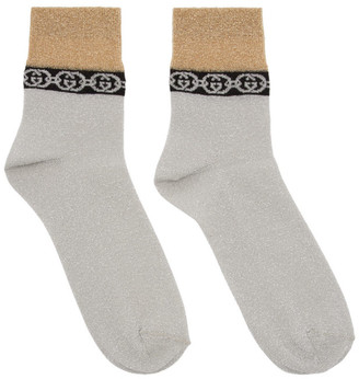 Gucci Silver and Gold Interlocking G Socks