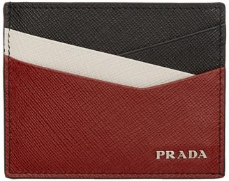 Prada Black and Red Saffiano Cross Card Holder