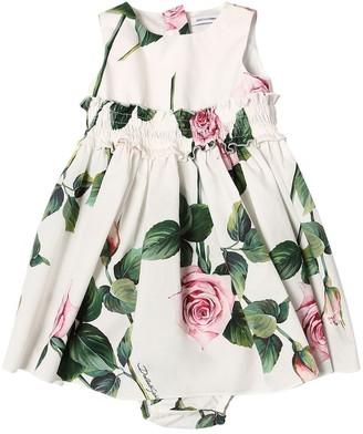 Dolce & Gabbana Rose Print Cotton Dress & Diaper Cover