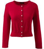 Classic Women's Petite 3/4 Sleeve Supima Dress Cardigan-Cherry Jam