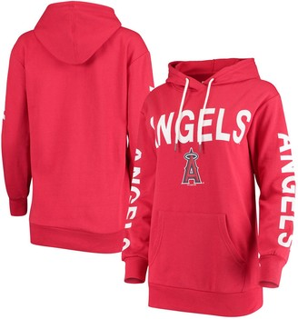 G Iii Women's G-III 4Her by Carl Banks Red Los Angeles Angels Extra Inning Colorblock Pullover Hoodie