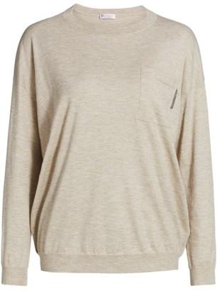 Brunello Cucinelli Cashmere-Blend Monili-Pocket Crewneck Sweater