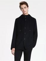CK Calvin Klein Tucked Wool Hooded Jacket