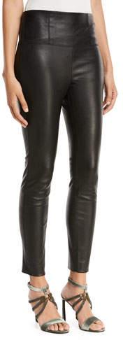 Brunello Cucinelli High-Waist Side-Zip Lamb Leather Leggings
