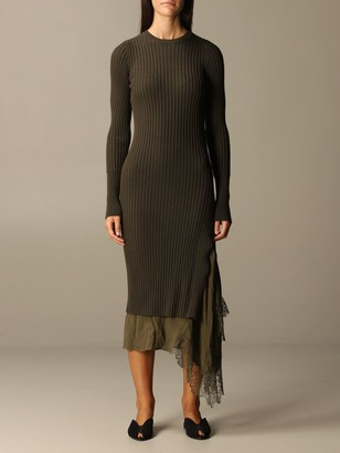 N°21 Long Dress N deg; 21 In Ribbed Knit And Lace