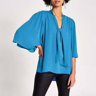 River Island Blue tie V neck choker blouse