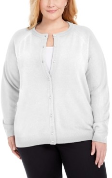Karen Scott Plus Size Luxsoft Pearl Button Cardigan, Created for Macy's