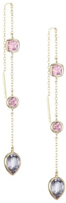 Anzie 14K Yellow Gold Pink Spinel & Garnet Chain Earrings