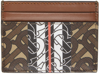 Burberry Brown E-Canvas Monogram Stripe Card Holder