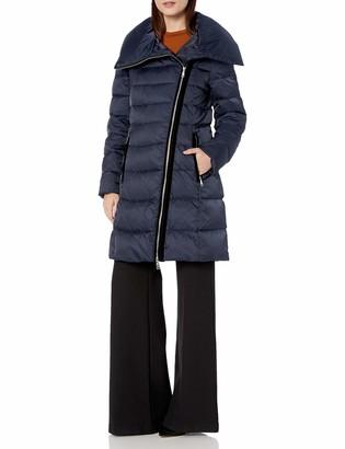 T Tahari Women's Heavy Weight Asymetrical Puffer Coat